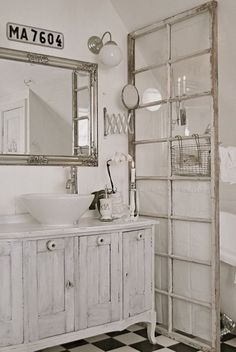 DIY bathroom dividing with old french door.