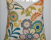 DOUBLE SIDED - Decorative Pillow Cover - Suzani - Accent Pillow - Olive Green - Grey - Teal - Yellow - Orange