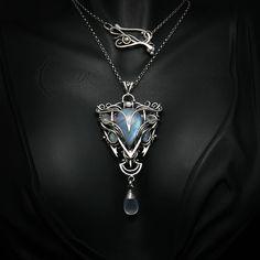 ESSENHTIUM - silver , moonstone , chalcedony by LUNARIEEN.deviantart.com on @DeviantArt