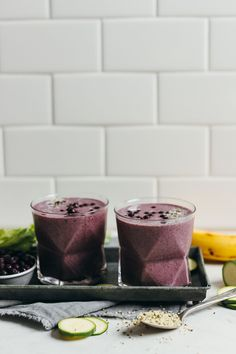 SUPER HEALTHY Zucchini Berry Smoothie! 8 nutrient-packed ingredients, 1 blender, 5 minutes, SO CREAMY! #vegan #glutenfree #raw #zucchini #smoothie #plantbased #recipe #minimalistbaker