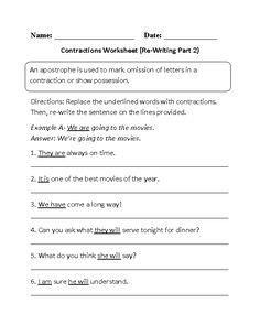Learning contractions worksheet education pinterest worksheets re writing contractions worksheet part 2 ibookread Download