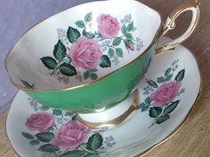 Vintage bone china tea cup set, Royal Standard English tea set, green tea cup and saucer, pink roses china cup