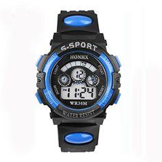 Welcomeuni Waterproof Children Boy Digital LED Quartz Alarm Date Fashion Sports Wrist Watch