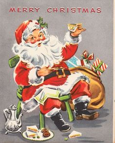 Here is a really cool vintage Christmas card, featuring good old Santa Claus taking a tea and cookie break!