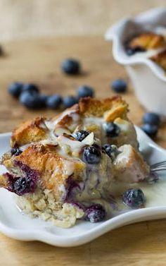Blueberry White Chocolate Bread Pudding with Amaretto Cream Sauce