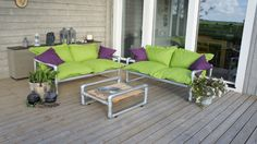 Design tuinmeubelen Outdoor Sofa, Outdoor Furniture Sets, Outdoor Decor, Industrial Pipe, Lounge Ideas, Heavy Metal, Landscapes, Deck, Gardens
