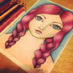 Girl with Pink Braids Prismacolor colored pencil drawing. Pink hair. Big Eyed Art By Andra's Whimsies
