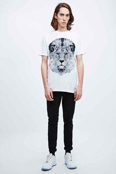 Supremebeing - T-shirt Lion blanc motif géométrique