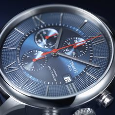 Beautiful in blue: Chemin des Tourelles Automatic Chronograph Bucherer BLUE Modern Watches, Elegant Watches, Luxury Watches, Watches For Men, Le Locle, Mode Man, Marine Blue, Watch Brands, Stainless Steel Case