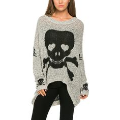 Avenue Hill Gray & Black Skull Hi-Low Sweater ($33) ❤ liked on Polyvore featuring tops, sweaters, black cotton sweater, grey top, black sweater, punk sweater e gray sweater