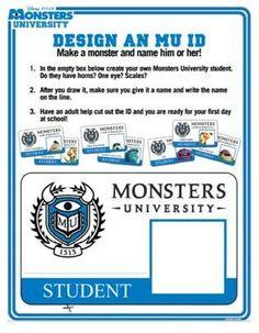 FREE Disney * Pixar Monsters University printable game and Monster U ID Badge.