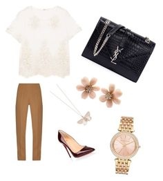 """""""Untitled #12"""" by an-thyab on Polyvore featuring Emilia Wickstead, MANGO, Yves Saint Laurent, Christian Louboutin, Alex Monroe, Van Cleef & Arpels and Michael Kors"""