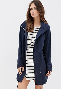 Hooded Longline Utility Jacket | Forever21 - 2000082216