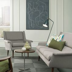 Sophisticated Midcentury Couch And Lounge Chair. Green ChairsDesign  InteriorsInterior DesignContemporary ...