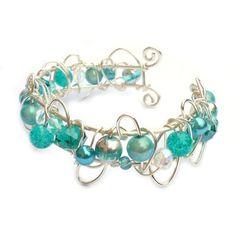 Handmade Cuff Bracelets - Turquoise ] Handcrafted Wire Cuff Bracelets ] Kian Designs - Handmade Jewellery UK