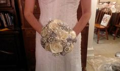 Ivory and Silver Satin Rose Brooch Bouquet by LaceElegance on Etsy, $200.00