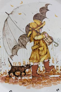 Good friends are sunshine on a rainy day - Holly Hobbie Holly Hobbie, Umbrella Art, Under My Umbrella, She And Her Cat, Singing In The Rain, Rain Art, Vintage Cards, Paper Dolls, Illustrators