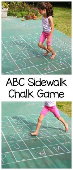ABC Sidewalk Chalk Game: Practice the alphabet, letter recognition, spelling, gross motor skills, and more with this easy outdoor hopscotch letter game! Gross Motor Activities, Outdoor Activities For Kids, Outdoor Learning, Outdoor Games, Literacy Activities, Educational Activities, Summer Activities, Fun Learning, Games For Kids