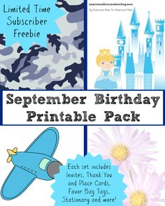 Limited Time Subscriber Freebie! September Birthday Printable Pack for Boys and Girls!