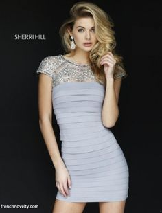 Sherri Hill 32282 Sheer Beaded Cocktail Dress- Short cap sleeve banded cocktail dress features rhinestone design on the top of the bodice and sleeves. Cheap Homecoming Dresses, Prom Dresses 2015, Dressy Dresses, Cheap Dresses, Sexy Dresses, Cute Dresses, Sherri Hill Short Dresses, Look Chic, Designer Dresses