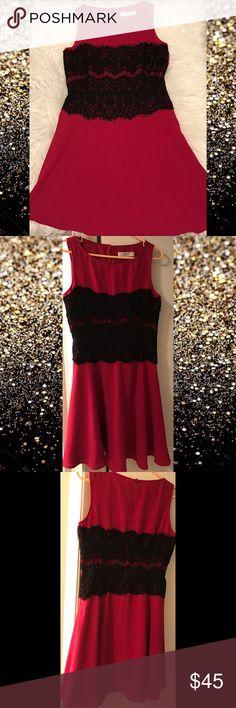 ⚡️24 HR SALE ⚡️Beautiful Ann Taylor Dress Pink and Black lace. Worn once! Ann Taylor Dresses Midi