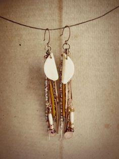 Sun regalia  Autumn tribal porcupine quill earrings von FlotsamTide