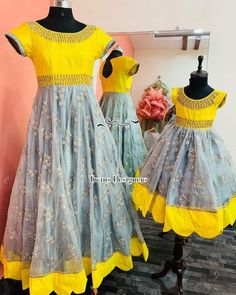 Mom And Baby Dresses, Dresses Kids Girl, Baby Frocks Designs, Kids Frocks Design, Mom Daughter Matching Outfits, Mother Daughter Fashion, Long Dress Design, Long Gown Dress, Indian Gowns Dresses