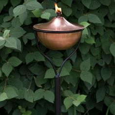 Artisan Copper Garden Torch with Traditional Yard Stake - Antique Copper