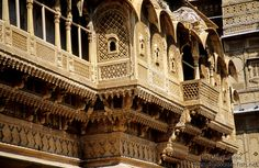19th C. haveli, Jaisalmer, Rajasthan, India.  Havelis are private mansions, often (as here) built by wealthy merchants.  It is easy to see the influence of Islamic Persian, Central Asian and Indian architecture in these remarkable structures. © Judith Sylte. 1995