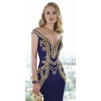 Plunging Floor Length Gown. Colors: Cobalt/Gold, Red/Silver, Black/Gold. Size: 00-12