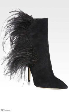 Paul Andrew Asteria Suede Peacock Feather Ankle Boots