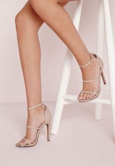 Three Strap Barely There Heeled Sandals Nude