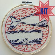 Embroidery Kit: Deep Dive whale sperm whale