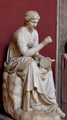 """In Greek mythology, Calliope is the muse who presides over eloquence and epic poetry; so called from the ecstatic harmony of her voice. She is spoken of by Ovid as the """"Chief of all Muses. Ancient Myths, Ancient Art, Human Sculpture, Sculpture Art, Greek Tragedy, Art Thou, Ancient Mysteries, Greek Art, Ballet"""