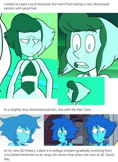 I think she was too to lazy fix her hair on that episode, but meh, it's because of different storyboard artists. They like to mess around Lapis's hair pfft
