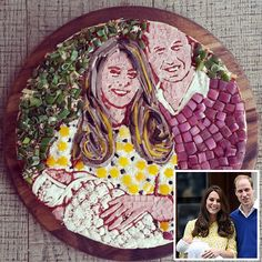 Spot-On Food Sculptures of the Stars | PRINCESS CHARLOTTE | To welcome the newest Royal baby into the world, Zizzi Restaurant in the U.K. created this meat, cheese and veggie pizza masterpiece in the likeness of Princess Charlotte, Prince William and Princess Kate. We'll have two slices, please!