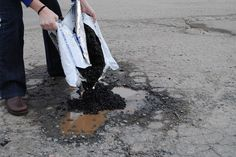 Pour EZ Street directly into the pothole even if it is filled with water. EZ Street cold mix displaces the water. Asphalt Concrete, Driveway Repair, Basement Flooring, Outdoors, Cold, Street, Water, Garden, House