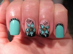 Nail art: Black french with turquoise flower - YouTube