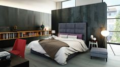 Fabulous marbled concrete stops well before the ceiling to give this spacious bedroom a calmer and more grounded atmosphere. The result looks rich, clean, and comfortable.