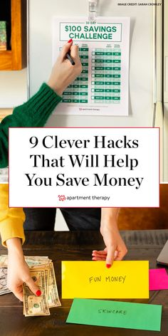 We've rounded up nine of the best money-saving hacks to help you with your personal finances. Each one is designed to change the way you act or think to give you a little leg up on deciding where your money goes day after day and year after year. Money Saving Meals, Best Money Saving Tips, Money Saving Challenge, Save Money On Groceries, Ways To Save Money, Money Tips, Budgeting Finances, Budgeting Tips, Money Envelope System