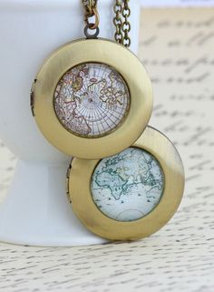 Map Locket Necklace!!!!