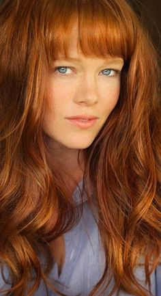 Whitney // Long Reddish Curly Red Wig with Full Bang by ginabarto, $49.00