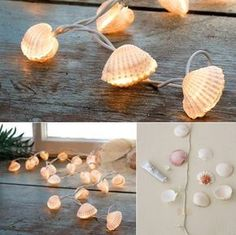 of Scallops with-muscheln_coole-decoration idea-with-diy-lichterkette-tinker- The post Crafting with shells – 50 cool deco ideas appeared first on Woman Casual - DIY and crafts Crafts For Teens, Diy For Kids, Fun Crafts, Diy And Crafts, Diy Crafts Lights, Deco Cool, Diy Y Manualidades, Easy Diy Christmas Gifts, Ideas Geniales