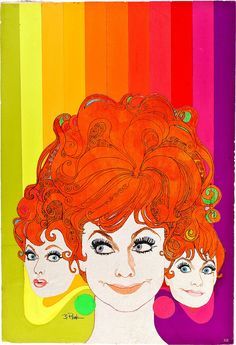 Colorful Lucille Ball illustration ~ TV Guide 1967 #rainbow #Lucy #redhead