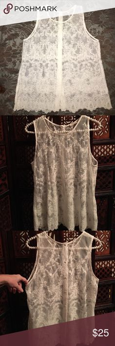 "Sleeveless lace blouse Size Medium     Beautiful sleeveless, lace top with scalloped detail bottom and buttons the full length of the back.  26"" from shoulder to hem (flat).  Excellent condition. ❌Sorry no trades. Consider a bundle and save 10%. Tops Blouses"