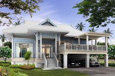 House Colonial Exterior Interior Design Ideas For 2019 Cottage House Designs, Cottage Homes, Colonial Exterior, Exterior Design, Thai House, Rest House, Dream House Plans, Classic House, Home Fashion