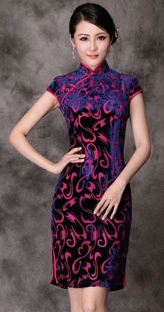 Elegant blue purple silk velvet short cheongsam Chinese qipao dress