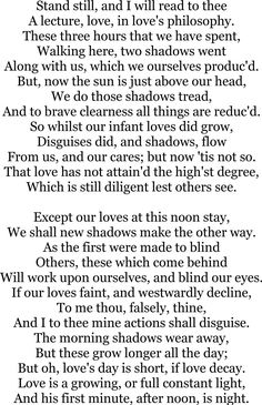 A Lecture Upon The Shadow - John Donne.  http://www.annabelchaffer.com/