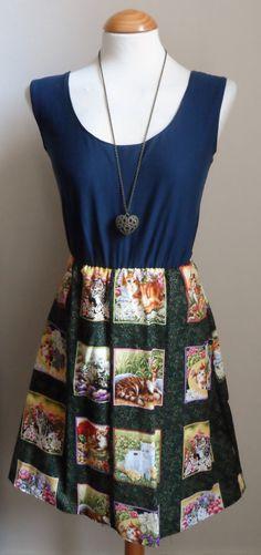 Jersey Cat Dress / Navy Blue Kitsch Cat by jenniferlillydesigns, $30.00