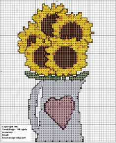 Sunflowers in a pitcher cross stitch chart.